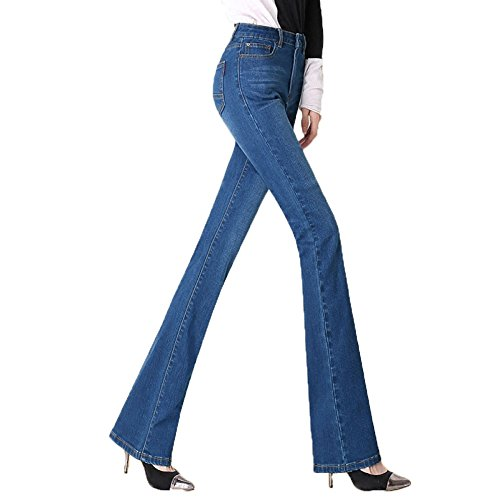 Donna blue3 E Alta 36 Elasticizzati Jeans trousers Vita Zip Da A Pantaloni Alta Con wPSqUI66Z