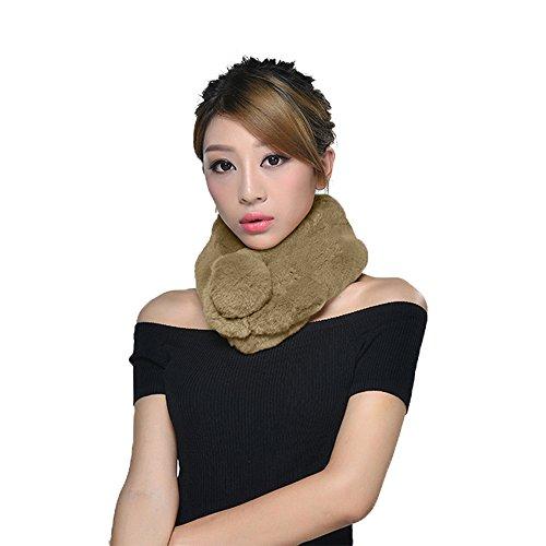Rabbit Fur Collar Scarves Women Winter Neck Warmer Pull Through Soft Warm Scarf Khaki (Free (Khaki Pull)
