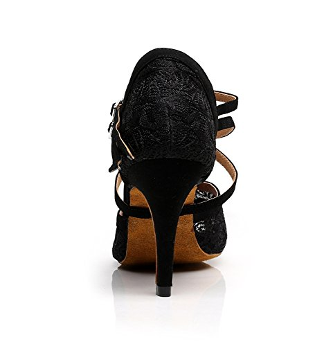Tango 8 US Lace Minitoo Ballroom Floral Women's Shoes Latin M Dance Wedding TQJ3005 5 Evening Sandals Black qXTg4w