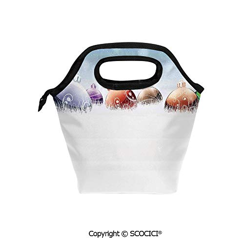 Insulation portable lunch box bag Baubles on Snow Field in Winter Spirit of Noel Themed Frosty Artful Design Soft Fabric lunch bag Mummy bag.