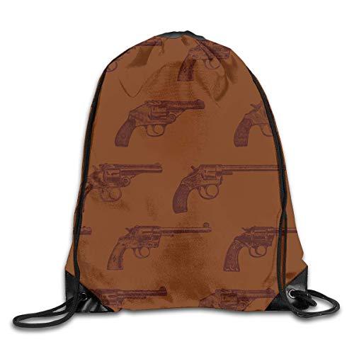 SDtaiantaishans Western Revolvers Men & Women Fashion Backpacks Shoulder Bag Laptop Backpack,Sport Gym Sackpack Drawstring Backpack Bag -