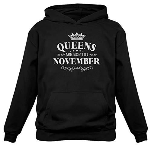 TeeStars - Birthday Gift for Women - Queens are Born in November Women Hoodie Large Black