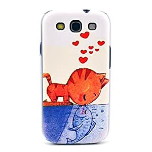 HJZ Eating Fish Cat Pattern Hard Back Case Cover for Samsung Galaxy S3 I9300