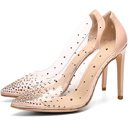 VANDIMI Clear High Heels for Women Stiletto Pointed Toe Pumps with Rhinestones Sexy Party Prom Dress Shoes Pink 10