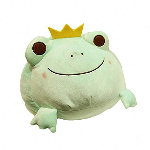Crown Frog Plush Pillow Soft Stuffed Animal Play Doll Baby Hugging Toy Sleeping Bolster Pet Throw Pillow Bed Sofa Nap Cushion Nursery Office Home Decor Gift for Kids Boy Girls, Green
