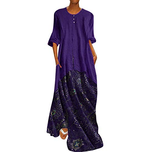 Women's Vintage Printed Long Sleeve Loose Plain Maxi Dresses Casual Long Dresses with Pockets Fake Two-Piece Blue -