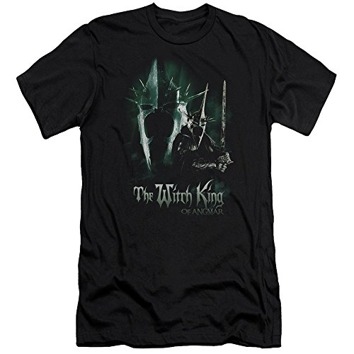 The Lord of the Rings Witch King Mens Premium Slim Fit Shirt (Black, - Witch King Deluxe