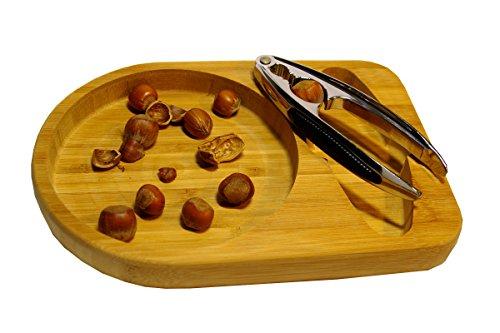 Nussion - Hochwertiges Nussknackerset mit Nussknacker aus Chrom mit Bambusschale