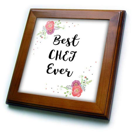 3dRose InspirationzStore - Love Series - Floral Best Chef Ever Pretty Watercolor Pink Flowers Great Good Cook - 8x8 Framed Tile (ft_315904_1)