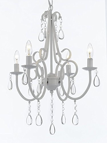 Wrought Iron and Crystal 4 Light White Chandelier Pendant Light Fixture Lighting Ceiling Lamp Hardwire and Plug In
