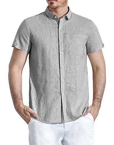 (modase Men's Casual Spread Collar Regular Fit Pinstripe Short Sleeve Linen Shirts Grey/M)