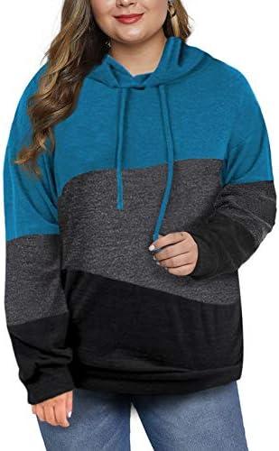Eytino Women Plus Size Pullover Hoodie Colorblock Striped Long Sleeve Hooded Sweatshirt(1X-5X)