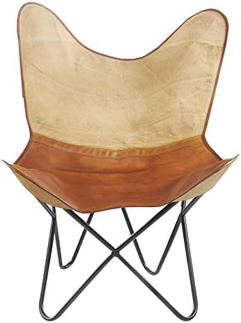 LR Resources Two Tone Canvas and Faux Leather Butterfly Chair Review