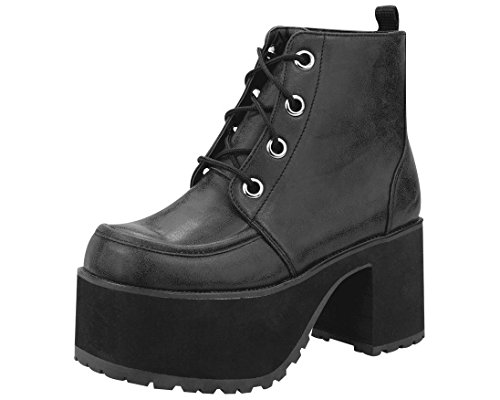 T.U.K. Shoes Women's A8663L Black Bootie - Black Punk Shoes