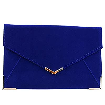 Ladies Envelope Clutch Evening Bag Wedding Prom Party Suede Velvet Handbag Purse