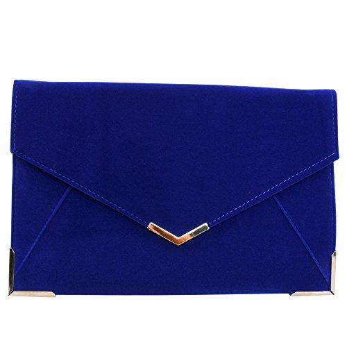 Velvet Envelope Clutch Large Evening Bag Women Bag Metal-Trim Shoulder Bag,Wedding Clutch Bag Purse (Blue)