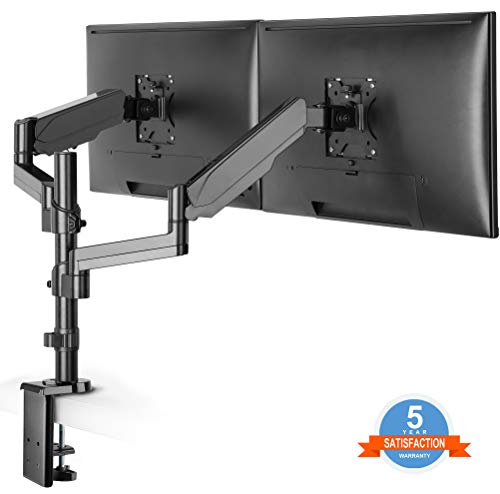 (Dual Arm Monitor Desk Mount Stand,Height Adjustable Full Motion Gas Spring Monitor Mount Riser with C Clamp/Grommet Base Fits Two 17