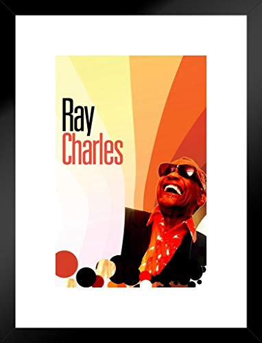 Ray Charles Sunglasses (Poster Foundry Ray Charles Rays Music Matted Framed Wall Art Print 20x26)