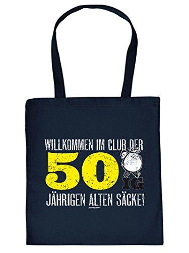 WILLKOMMEN IM CLUB DER 50 IG ... :Tote Bag Henkeltasche. Beutel mit Aufdruck. Tragetasche, Must-have, Stofftasche