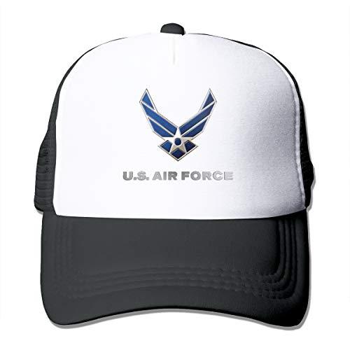 US Air Force Trucker Hat Snap Back Sun Mesh Baseball Cap Hip Hop Flat Hats for Men and Women Black