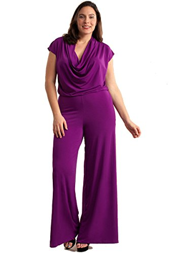 Nyteez Women's Plus Size Cowl Neck Wide Leg Jumpsuit (1X, Purple) (Cowl Neck Jumpsuit)