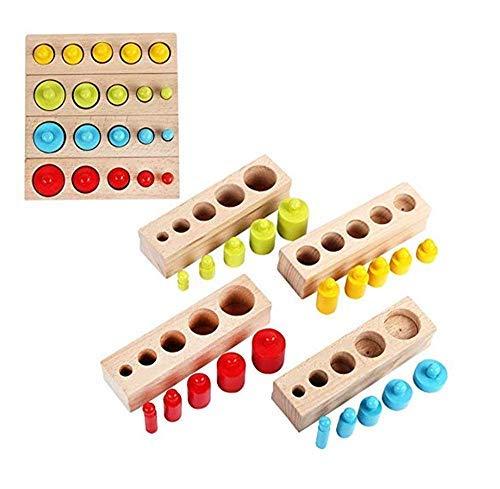 [해외]LanYo 몬테소리 유아 교육 나무 교육 완구 원통 사진 4 개 세트 컬러풀 나무 퍼즐 입원 축 하 어린이 여 아 소년 생일 크리스마스 선물 / LanYo Montessori Education Toddler Education Wooden Educational Toys 4 pcs Colorful Wooden Puzzle Chil...