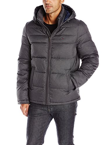 Tommy Hilfiger Men's Classic Hooded Puffer Jacket, Heather Charcoal, L