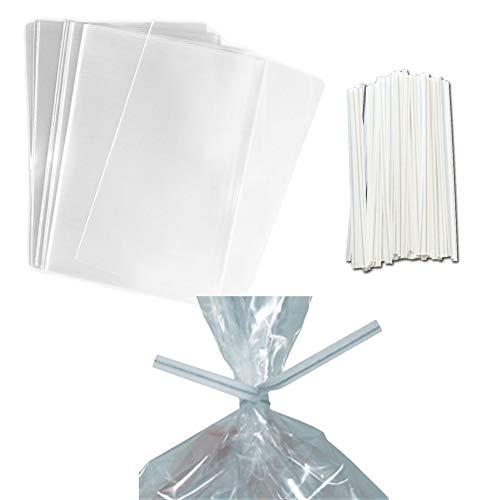 (100 Clear Treat & Favor Bags | Twist Ties Included | Great For Cake Pops, Candy, Gifts, Wedding or Party Favors | Food Safe Plastic | Stronger Than Cellophane |)
