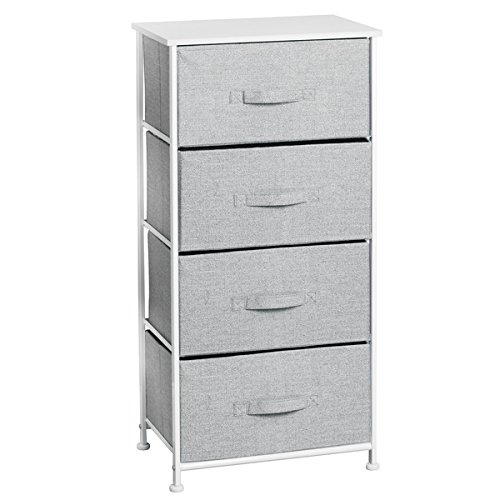 mDesign Fabric 4-Drawer Storage Organizer Unit for Bedroom, Nursery, Office - Gray Photo #2
