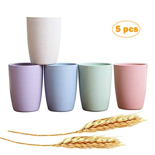 Eco-friendly Unbreakable Reusable Drinking Cup for Adult (12 OZ), Wheat Straw Biodegradable Healthy Tumbler Set 5-Multicolor, Dishwasher Safe (12 OZ)
