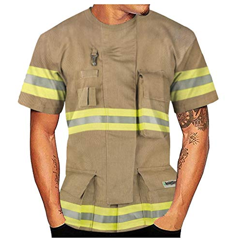 Fireman Information For Kids (Men's Casual 3D Fireman Style Print O-Neck Short Sleeve Blouse Top)
