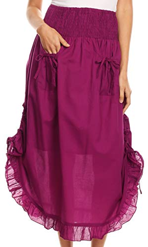 Sakkas 3118 - Coco Long Cotton Ruffle Skirt with Pockets and Elastic Waistband - Fuschia - OS