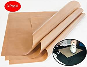"1000-Use 3-Pack Teflon PTFE Sheet for Heat Press Transfers, 16 x 20"" Heat Resistant Craft Sheet, 100% Non Stick Protects Iron and Work Area Even With Messy Glue, Ink or Paint!"