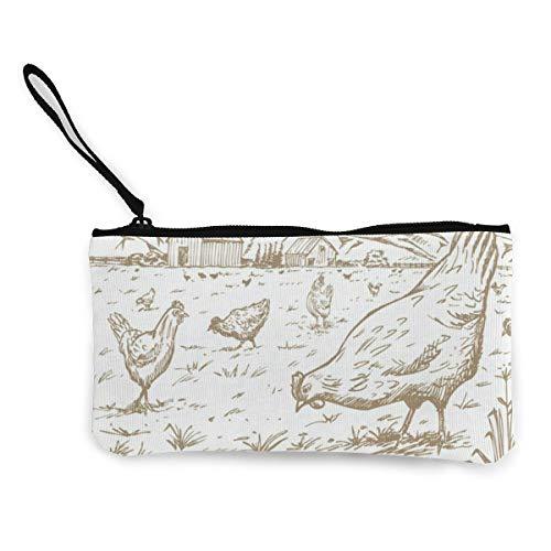 Price comparison product image Canvas Coin Purse Hand Drawn Chicken Farm Customs Zipper Pouch Wallet For Cash Bank Car Passport