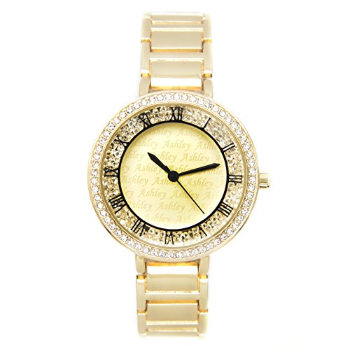 Floating Crystals on Bling Bling Ladies Designer Look Watch Easy Reader Roman Numeral Trim Shiny Gold Tone Bracelet - 8554 Gold