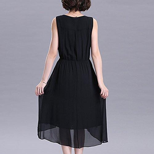 Cocktail Kleider Schwarz Kleid S2995 Maxi Übergröße Tierdruck Damen DISSA Abendkleid Seide wRCPHqx