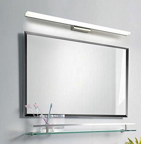Luz Delantera con Espejo Led Espejo del baño lámpara Delantera Moderno Simple Acero Inoxidable Impermeable Anti-Niebla Espejo Espejo Espejo luz Humedad baño Luces de Maquillaje lámpara de Pared: Amazon.es: Hogar