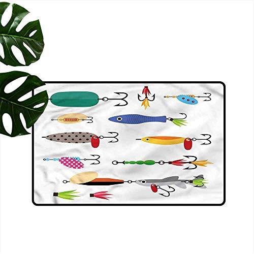 HOMEDD Modern Doormat,Fishing Stinger Net and Worms,Anti-Slip Doormat Footpad Machine Washable,31