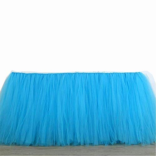 - Tulle Table Skirt Fabric Tutu Table Clot for Rectangle or Round Tables/Fashion Deluxe Romantic Wedding Birthday Party Baby Shower Decorative Tablecloth/Table Cover (Blue L:91cm H:79cm)