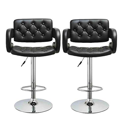 Quelife Modern Square PU Leather Adjustable Bar Stools with Back, Armless Hydraulic Kitchen Counter Bar Stools Synthetic Leather Extra Height Square Island Bar Stool with Back Set of 2(Black)