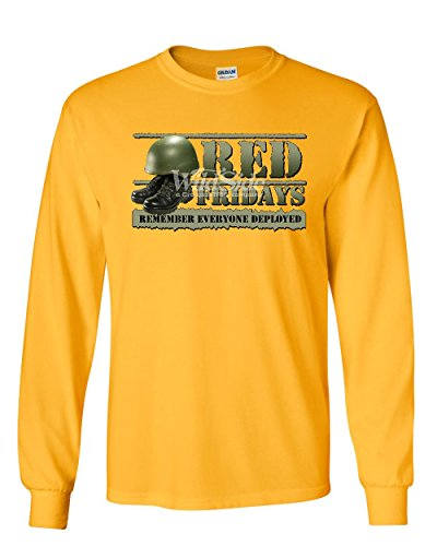Red Fridays Remember Everyone Deployed Long Sleeve T-Shirt Support US Troops Tee Yellow 4XL