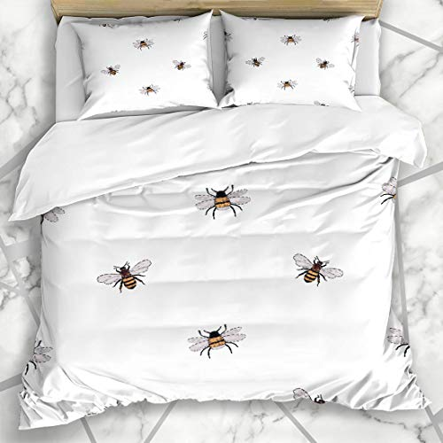 Ahawoso Duvet Cover Sets King 90x104 Busy Watercolor Beekeeper Big Honey Bee Small Buff Funny Yellow Black Bombus Tailed Bumble Spring Microfiber Bedding with 2 Pillow Shams