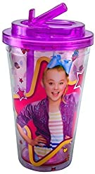 JoJo Siwa Star Sweets 16oz Double Wall Plastic Cold Cup With Flip Straw,Purple