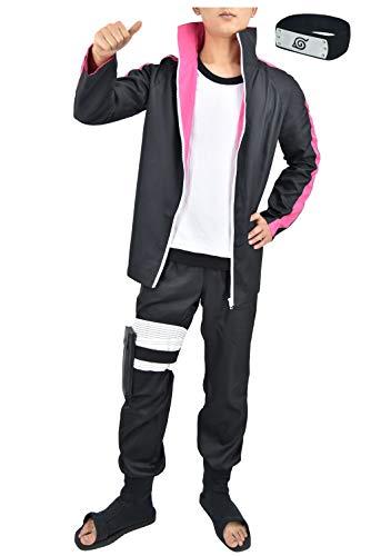 DAZCOS US Size Adult Anime Boruto Halloween Cosplay Costume (Men M) Black