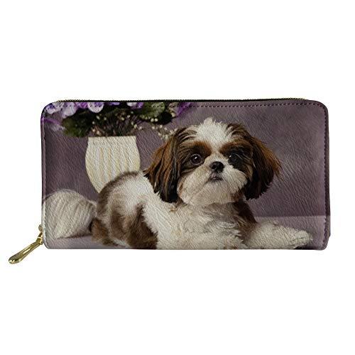 (HUGS IDEA Zip Around Women Organizer Wallet PU Leather Clutch Shih Tzu Puppy Dog Design Long Purse )