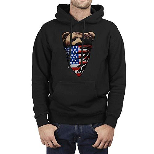 (American Flag Bandana Bear California Young Men Black Sweatshirt Fleece Novelty Long Sleeve)