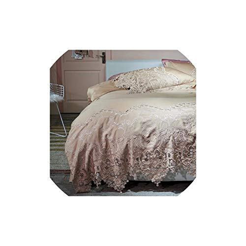 100S Egyptian Cotton Champagne Hollow Lace Embroidery Bedding Set Duvet Cover Bed Linen/Sheet Pillowcases 4Pcs,2,King 4Pcs