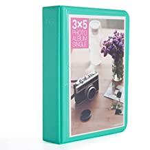 Woodmin 32 Pockets Elegant PU Leather Photo Album for Polaroid 3.5 by 5-inch films, 3.5X5 Instax Pictures by Instant Wide 300 210 Camera(Green)