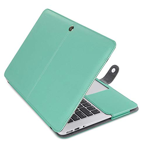 MOSISO MacBook Air 13 inch Case, Premium PU Leather Case Book Folio Protective Stand Cover Sleeve Compatible with MacBook Air 13 inch A1466 / A1369 (Older Version Release 2010-2017), Hot Blue