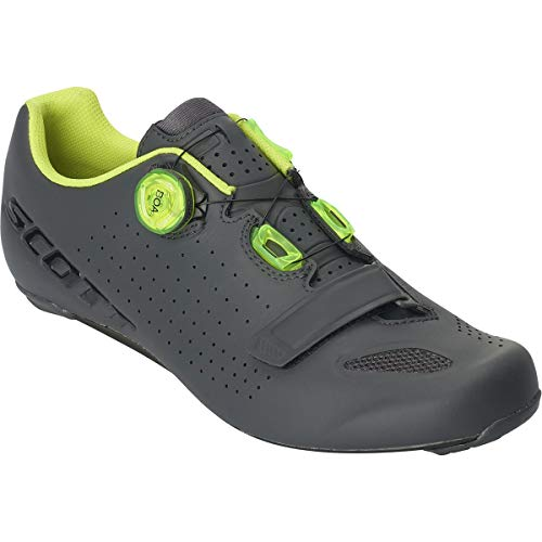 (Scott Road Vertec Boa Cycling Shoe - Men's Matte Grey/Neon Yellow, 43.0)